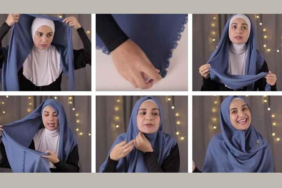 Tutorial Cara Memakai Hijab Segi Empat Ala Shireen Sungkar