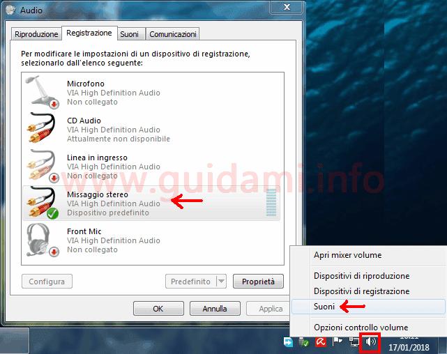 Attivare Missaggio stereo Windows