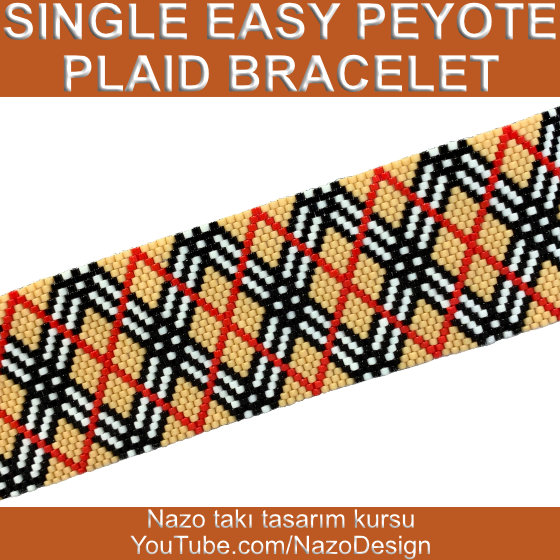 Single easy peyote plaid bracelet