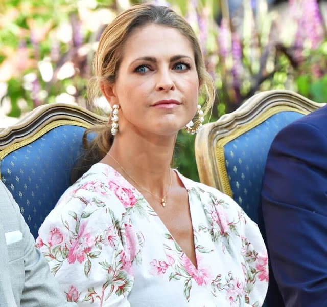 Crown Princess Victoria wore a lace midi dress from By Malina, Princess Madeleine wore a hampshire dress from D'Ascoli