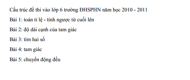 đề thi vào lớp 6 trường Nguyễn Tất Thành - ĐHSP Hà Nội 2011 - 2012