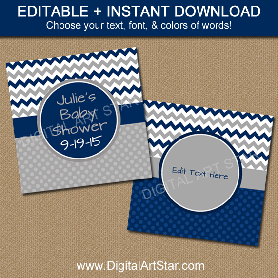Navy Baby Shower Favor Tags