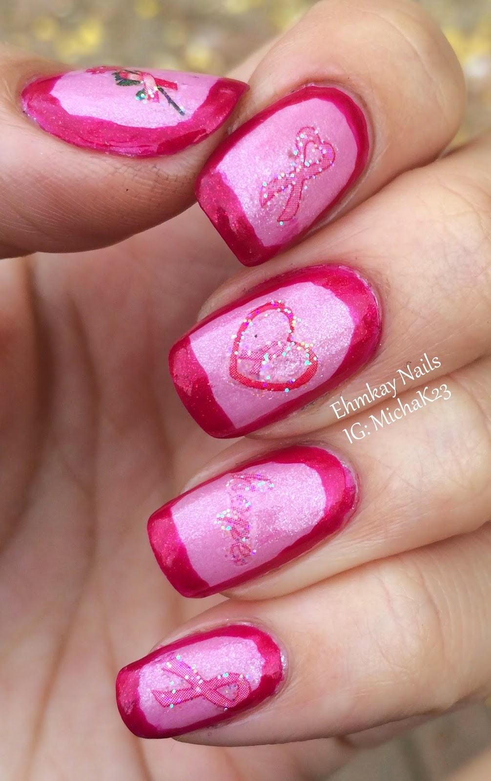 Ehmkay Nails Breast Cancer Awareness Nail Art With Joby Decals
