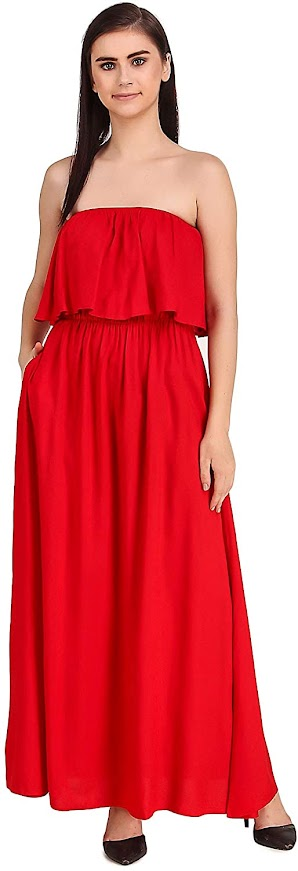 Red Strapless Maxi Long Dresses