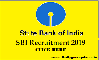 SBI Recruitment For Specialist Officer Online Form  2019 - DAilyGovtUpdates.In