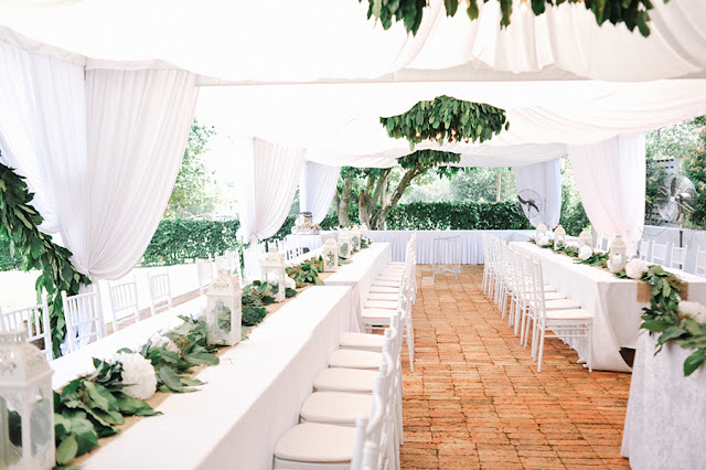 white long tables