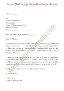 thank you letter for second round interview invitation