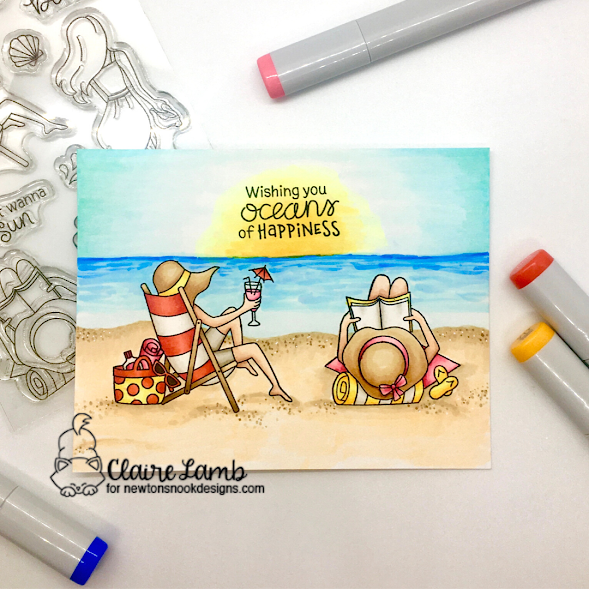 Wishing you oceans of happiness by Claire features Summer Moments by Newton's Nook Designs; #inkypaws, #newtonsnook, #summercards, #cardmaking