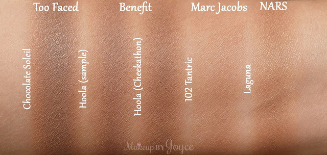 Benefit Hoola Matte Too Faced Chocolate Soleil Nars Laguna Bronzer Swatches