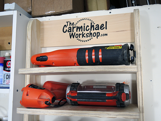 Flashlight and Reciprocating Saw Shelf