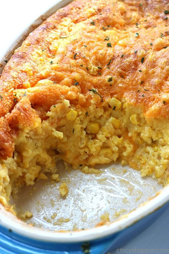 This Jiffy Cornbread Casserole is an easy side dish for your Thanksgiving or every day meals. I like to describe it as a gooey cheese cornbread.