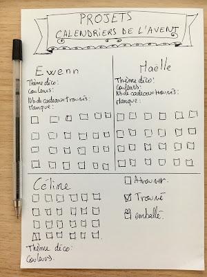 Brouillon tracker calendrier de l'avent