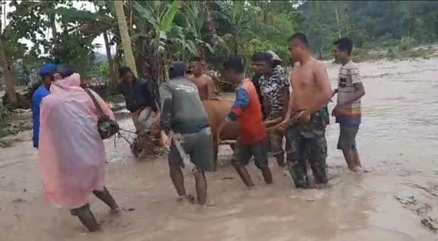 Aksi Heroik Kapten Mahfud dan Angoota Selamatkan 11 Warga dan Ternak Akibat Banjir
