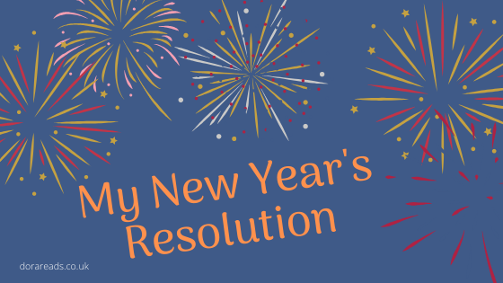 'My New Year's Resolution' with blue background and fireworks