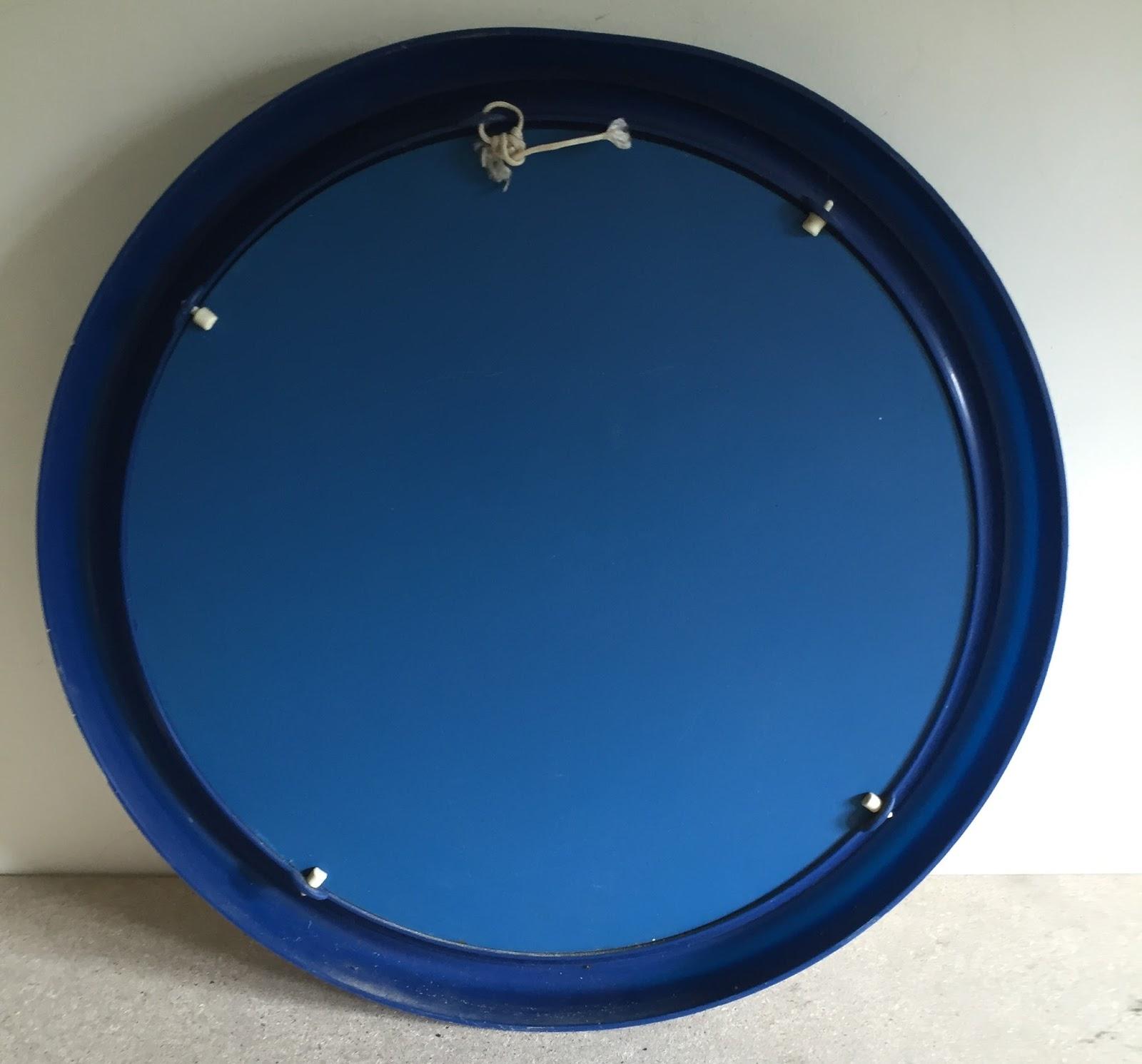 Espejo ba o marco pl stico azul vintage jacoboansin for Espejos de bano vintage