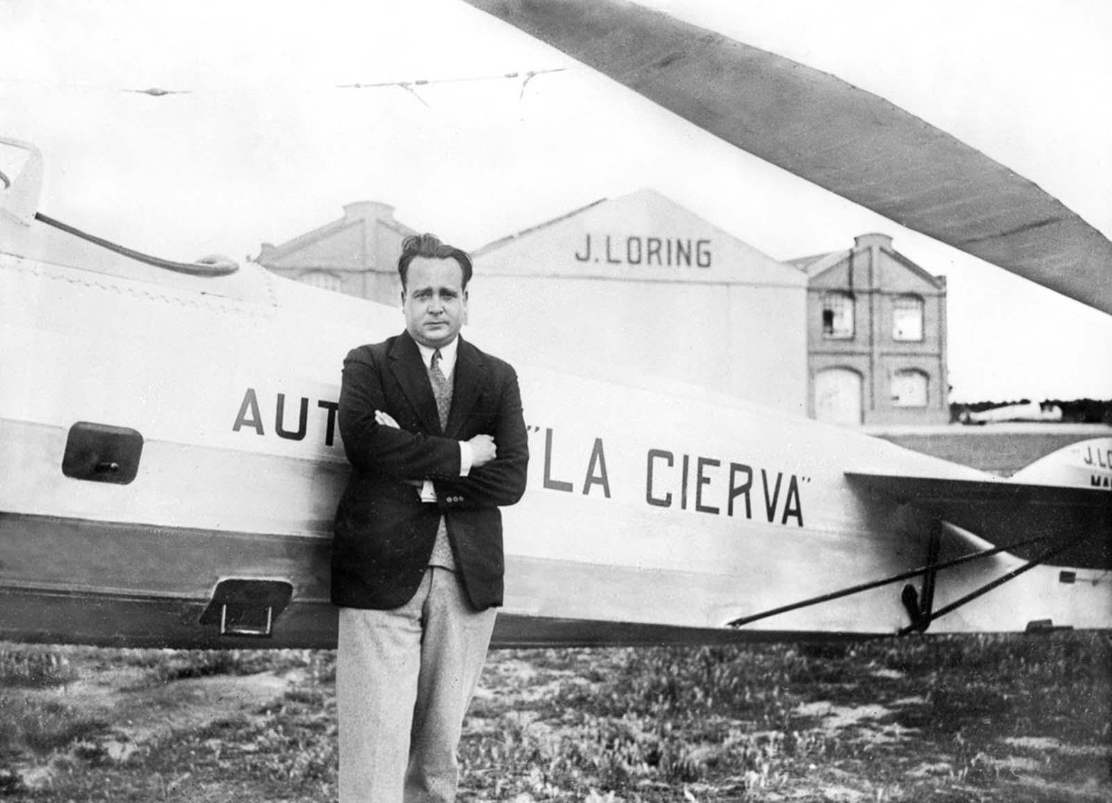 Juan de la Cierva, inventor of the autogyro. 1929.