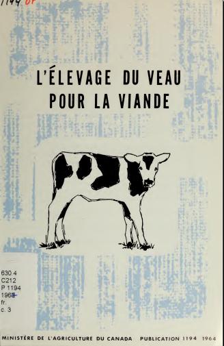 L'élevage du veau pour la viande - WWW.VETBOOKSTORE.COM