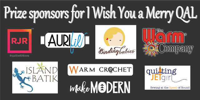 Prize sponsors for the I Wish You a Merry Quilt Along
