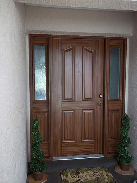 Paint front door to look like wood and to match garage for Paint garage door to look like wood