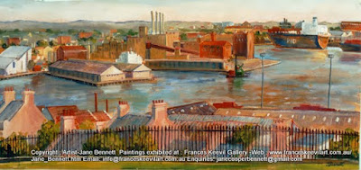 Plein air watercolour painting of Pyrmont  from Observatory Hill by industrial heritage artist Jane Bennett