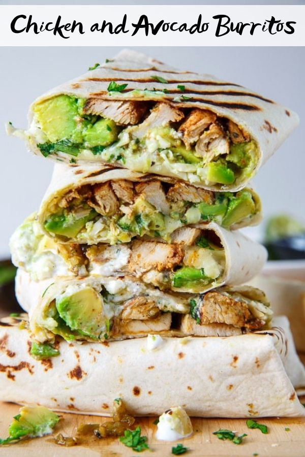 Chicken and Avocado Burritos #burritos #chicken #chickenrecipes #easyrecipes #avocado