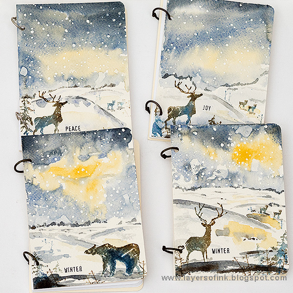 Layers of ink - Winter Watercolor Notebook Tutorial by Anna-Karin Evaldsson with Tim Holtz Great Outdoors stamps