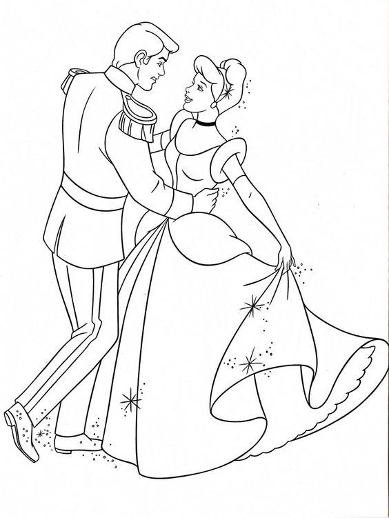 Hình tô màu công chúa lọ lem và hoàng tử