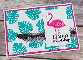 Flamingo Birthday Card made using supplies from Stampin' Up! UK which you can buy here