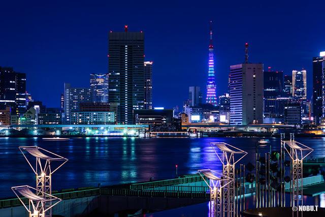 東京タワー青・白・緑のダイヤモンドヴェール