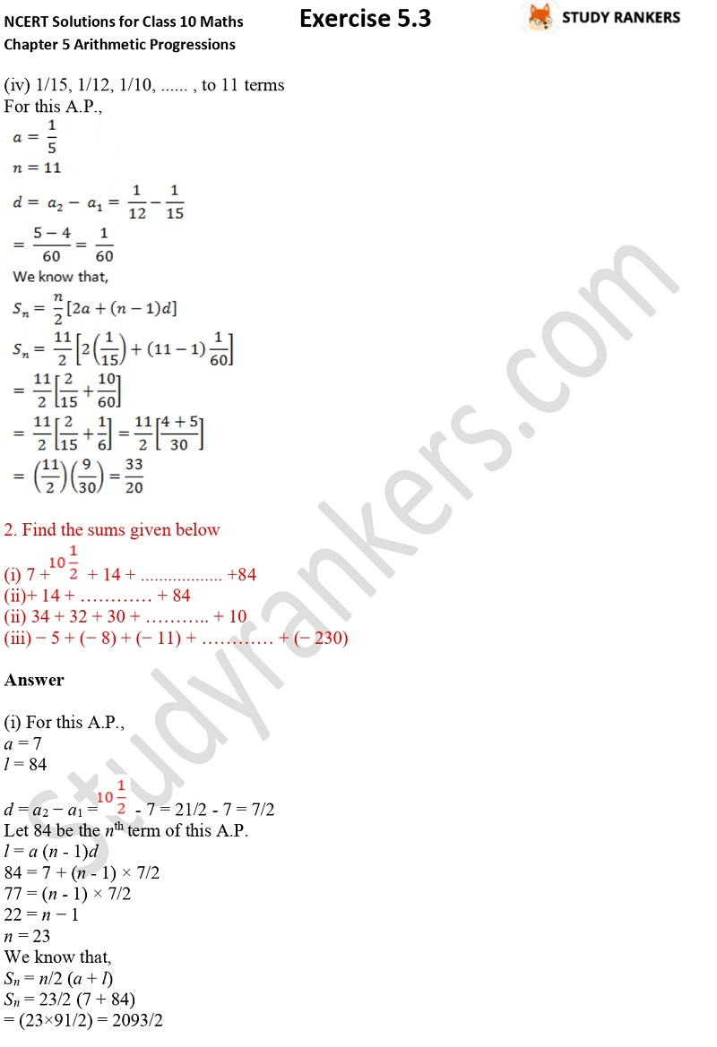 NCERT Solutions for Class 10 Maths Chapter 5 Arithmetic Progressions Exercise 5.3 Part 1 Part 2