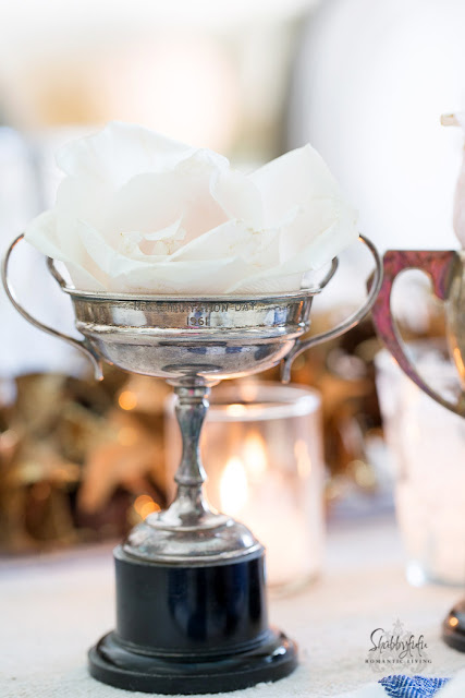 vintage silver trophy cup with blush roses