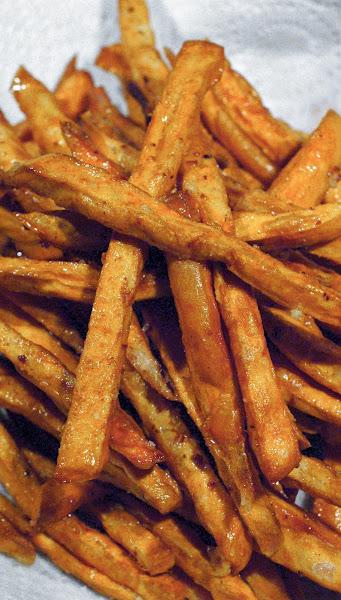 Close up of crispy sweet potato fries.