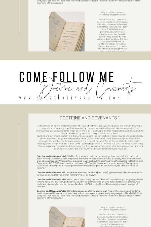 Come Follow Me Doctrine and Covenants section 1 Free Printable study guide