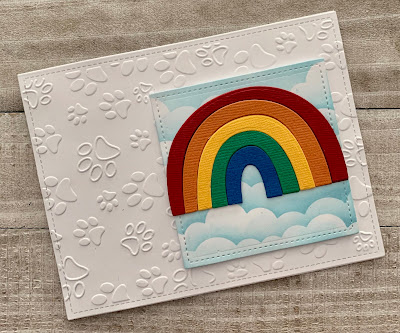 Paw Print Embossing Rainbow and Clouds