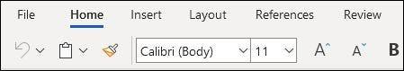 الشريط المبسط في تطبيق Word على الويب.