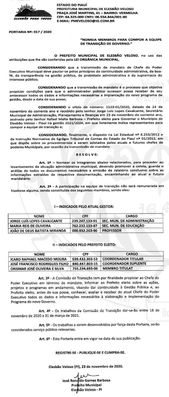 Elesbão Veloso: Prefeito eleito Rafael Barbosa nomeia equipe para transição de governo