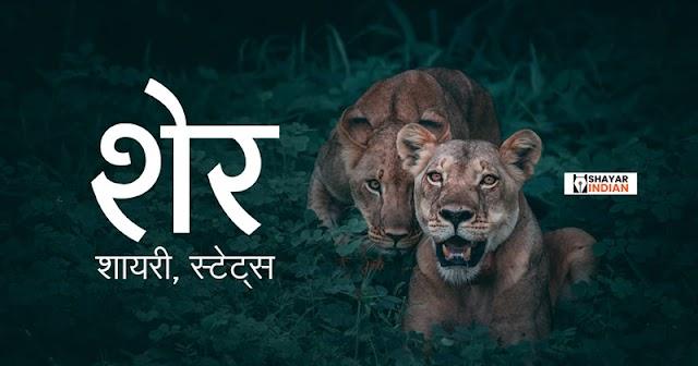 शेर पर शायरी स्टेट्स । Lion Shayari Status Images in Hindi
