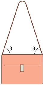 Considere que a bolsa, ao ser usada apoiada sobre o ombro pelo ponto intermediário da alça, mantenha-se na forma mostrada na figura.