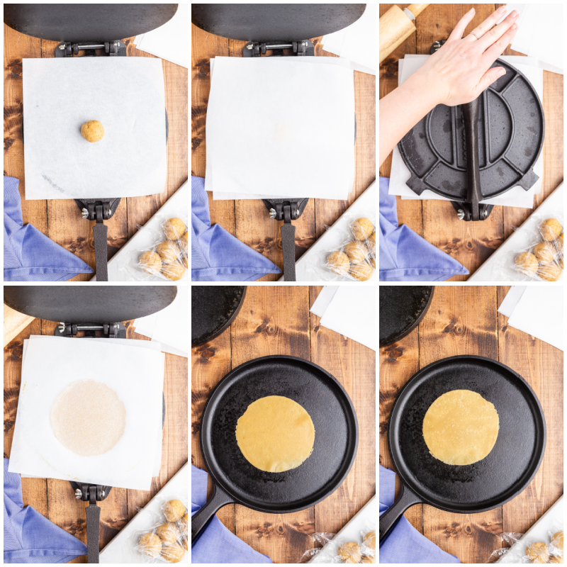 Six more photos of the process of making keto flour tortillas.