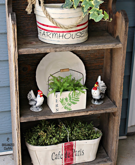 Upcycled Garage Sale Fern Planter #upcycle #stencil #chalkedpaint #hobbylobby