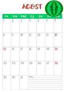 Calendari agost vertical