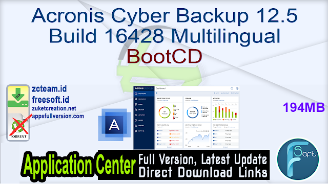 Acronis Cyber Backup 12.5 Build 16428 Multilingual BootCD