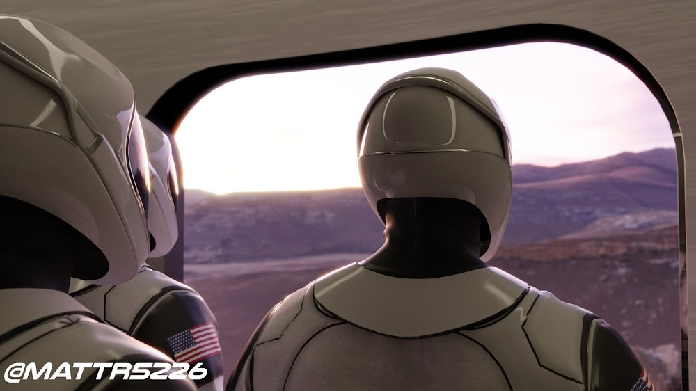 First humans on Mars: Starmen disembarking from SpaceX Starship on Mars by Matthew Ryan