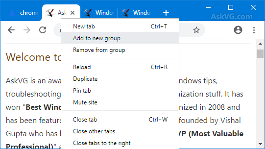 force Chrome to display all Tabs content in one group