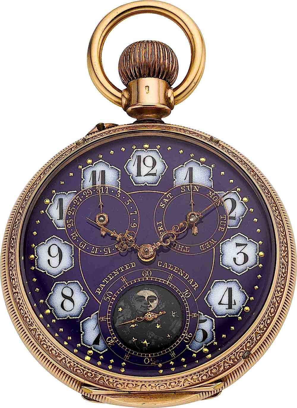 an 1895 watch with a purple face