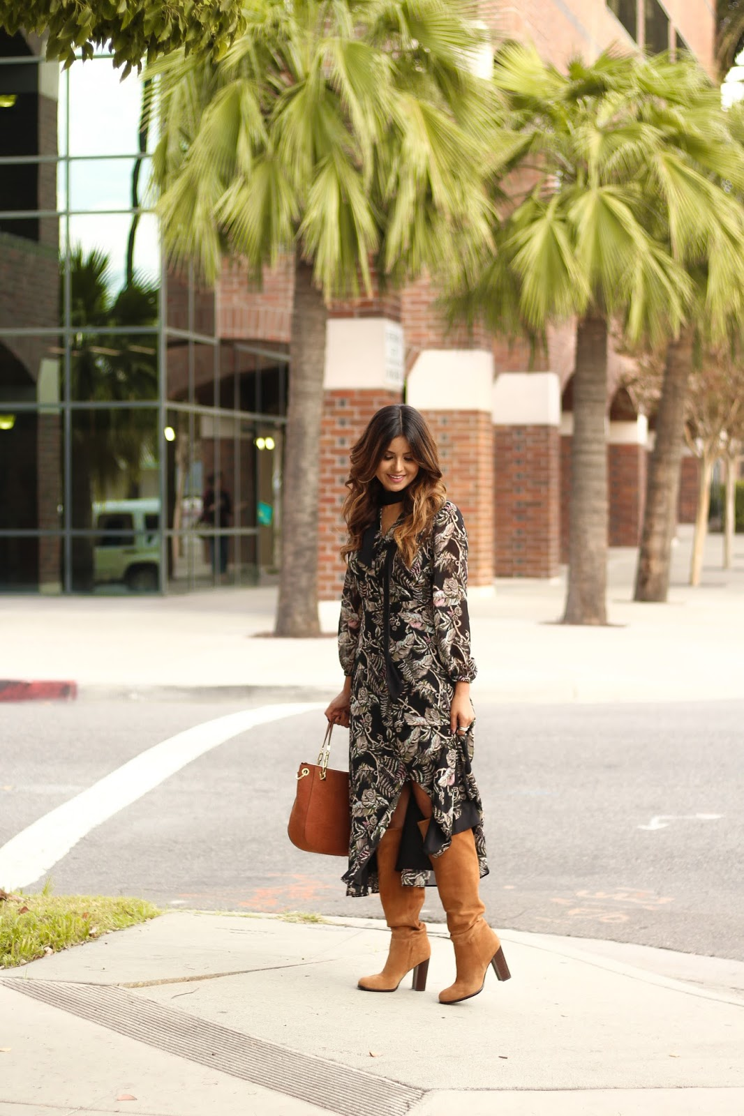 How to wear a long maxi dress with tall knee high boots Sam Edelman Victoria