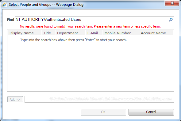 "SharePoint 2010 ""NT Authority\Authenticated Users"" Missing"