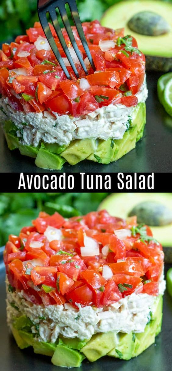 Tuna layered with avocado and fresh salsa. This avocado tuna salad recipe is a healthy low carb lunch recipe you're going to love!