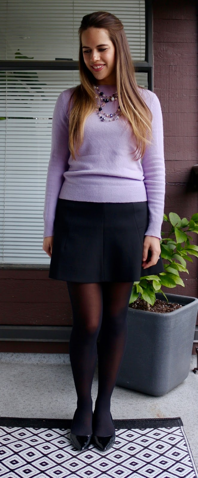 Jules in Flats - Lilac Cashmere Sweater with Skater Skirt for Work