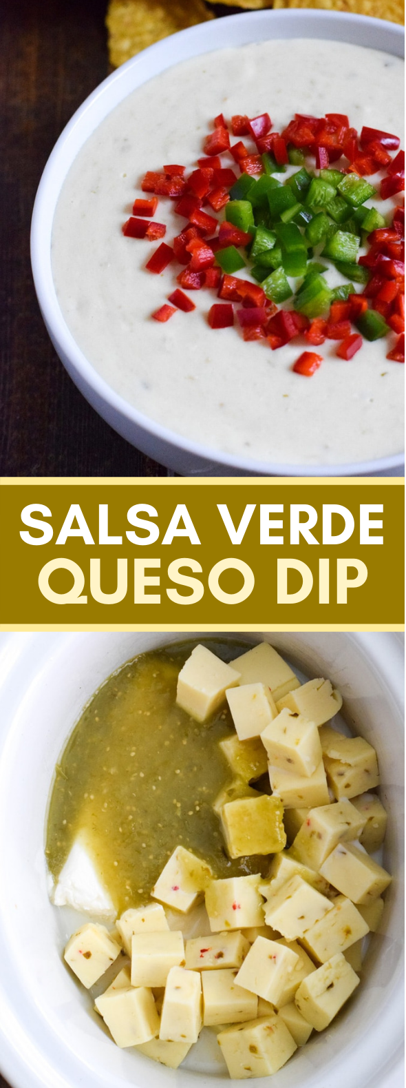 SALSA VERDE QUESO DIP #gameday #appetizers